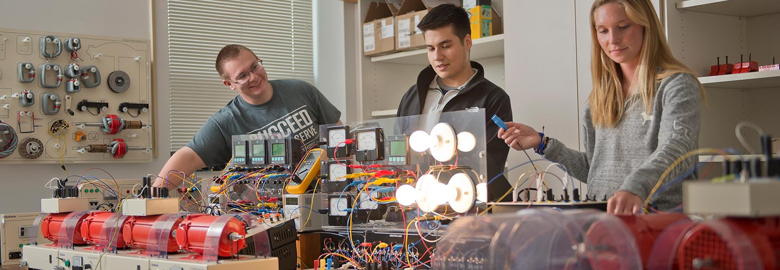 Students working in electrical engineering lab