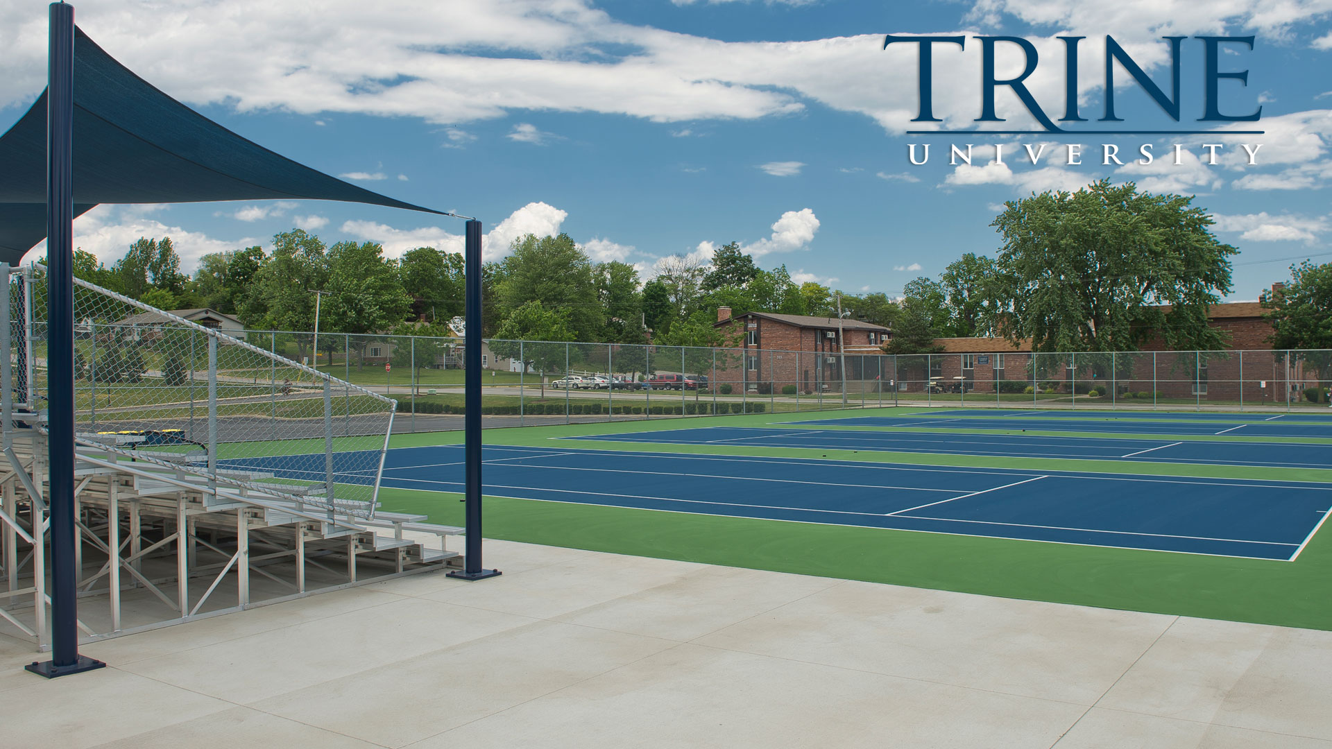 Outside tennis courts at Trine University