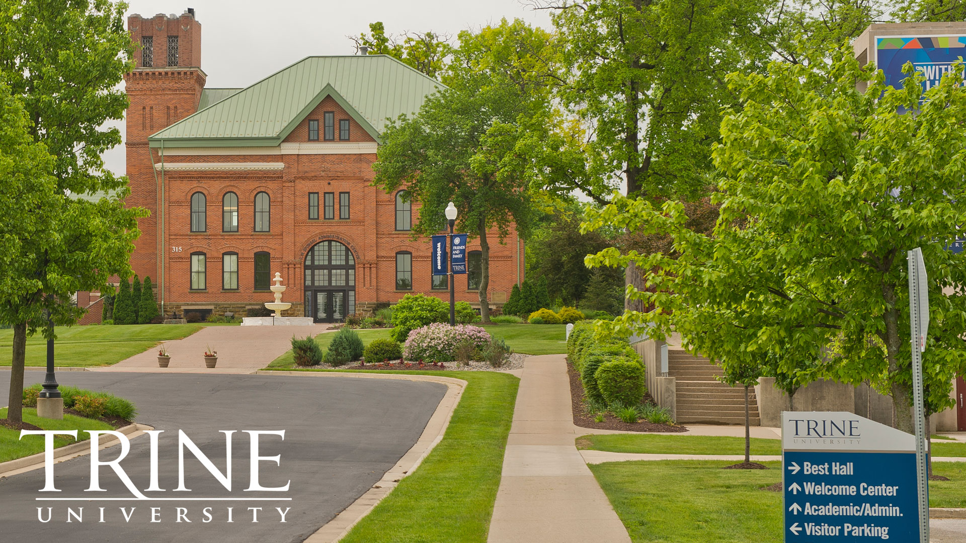 Outside shot of Sponsel in Spring at Trine University